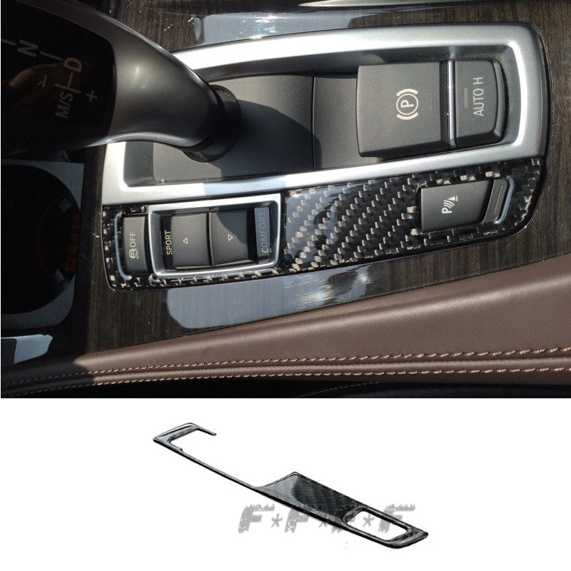 carbon fiber left gearshift button panel cover trim car interior console armrest decorative. Black Bedroom Furniture Sets. Home Design Ideas