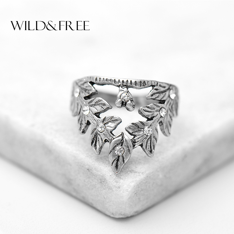 Women Vintage Hollow Out Leaf Finger Rings Antique Gold Silver Zinc Alloy Rhinestone Triangle Midi Rings Jewelry For Lover Women