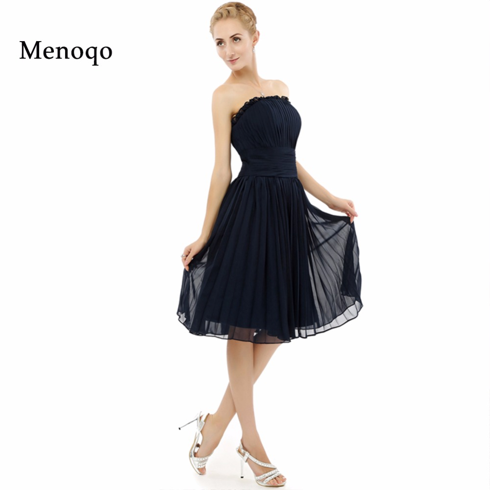Real Sample New Model A line Chiffon Knee length formal party occasion   dresses   2019 hot sell Navy Blue Short   Bridesmaid     dresses