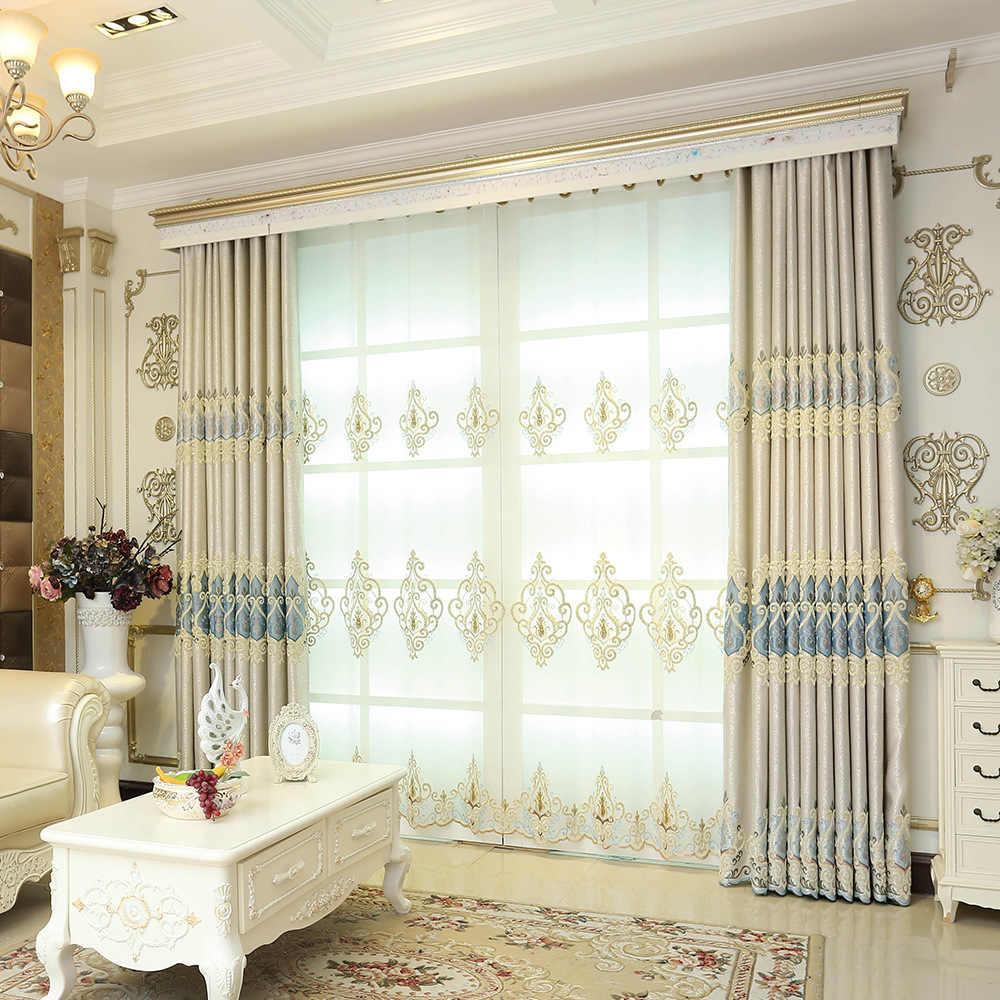 Bereit Gemacht Fenster Vorhänge Für Wohnzimmer Luxus Stickerei Jalousien Blackout Vorhang Stoff und Tüll Für Villa Schlafzimmer wp303-40