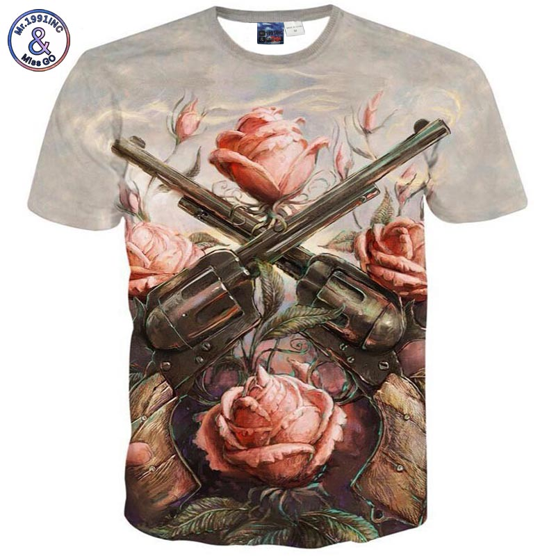 2017 Mr.1991INC fashion Tshirt Men/women short sleeve 3d t shirt funny print Rose flowers 2 Gun T-shirt Tops tees T6