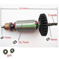 5 zähne AC220 240V Anker Motor motor Rotor Ersatz für Makita 518880 5 515669 2 HR2021 HR2020 HR2022-in Elektrowerkzeuge Zubehör aus Werkzeug bei