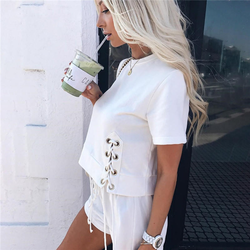 Women two piece outfits tops and shorts solid black red white shorts set plus size Drawstring fashion sexy womens tracksuit set