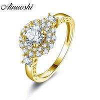 AINUOSHI Trendy Double Halo Flower Ring 14K Solid White/Yellow Gold Pave Setting Band Round Sona Diamond Wedding Engagement Ring
