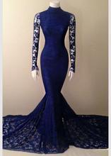 Vintage Lange Hülsen-spitze Abendkleid Marineblau Kleid Spitze Lange Meerjungfrau Kleider 2016 Hohe-Neck Kleid Partyabend elegante