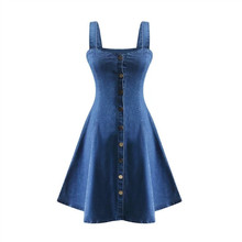 2018 Autumn Overalls for Women Backless Dress Single-breasted  Blue Denim Skinny Dress Elegant Women Fashion Suspenders Dresses цена и фото