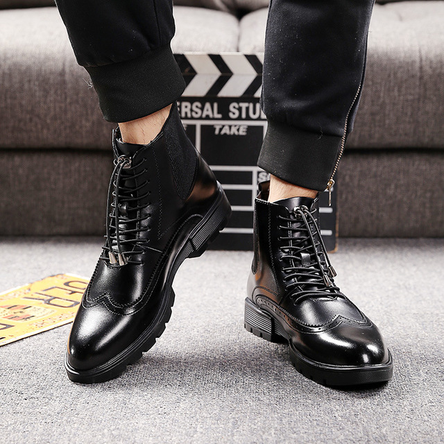 mens casual breathable cow leather boots black ankle boot chelsea booties carving bullock shoes gentlemen brogue shoe zapatos