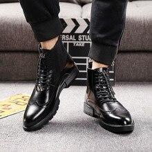 メンズカジュアル通気性牛革ブーツ黒アンクルブーツチェルシーブーツ彫刻牛紳士ブローグ靴 zapatos