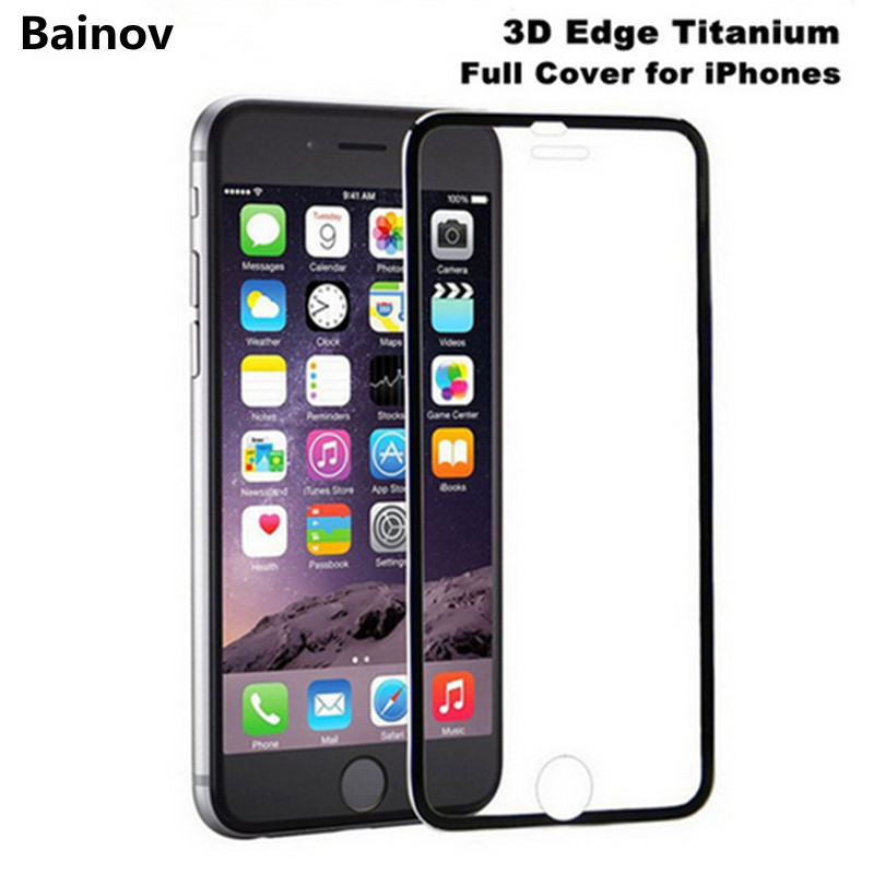 Bainov Full Coverage 3D Curved Edge Real Tempered Glass For iPhone 6 6s Titanium Protective Film Screen Protector For iPhone 7