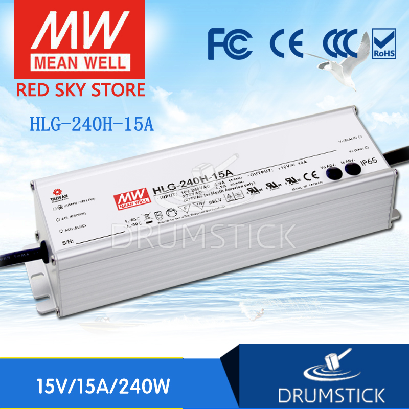 MEAN WELL HLG-240H-15A 15V 15A meanwell HLG-240H 15V 225W Single Output LED Driver Power Supply A type [Hot2] [nc b] mean well original hlg 120h 54a 54v 2 3a meanwell hlg 120h 54v 124 2w single output led driver power supply a type
