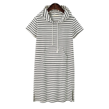 Plus Size 4XL 5XL Women Hoodies Shirt Dress Summer Short Sleeve Black And White Striped Blouse Dresses Casual Work Office Dress 1