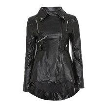 Черная мотоциклетная куртка из искусственной кожи для женщин Осень Топ Мода Лидер продаж верхняя одежда на молнии прохладный тонкий фитнес