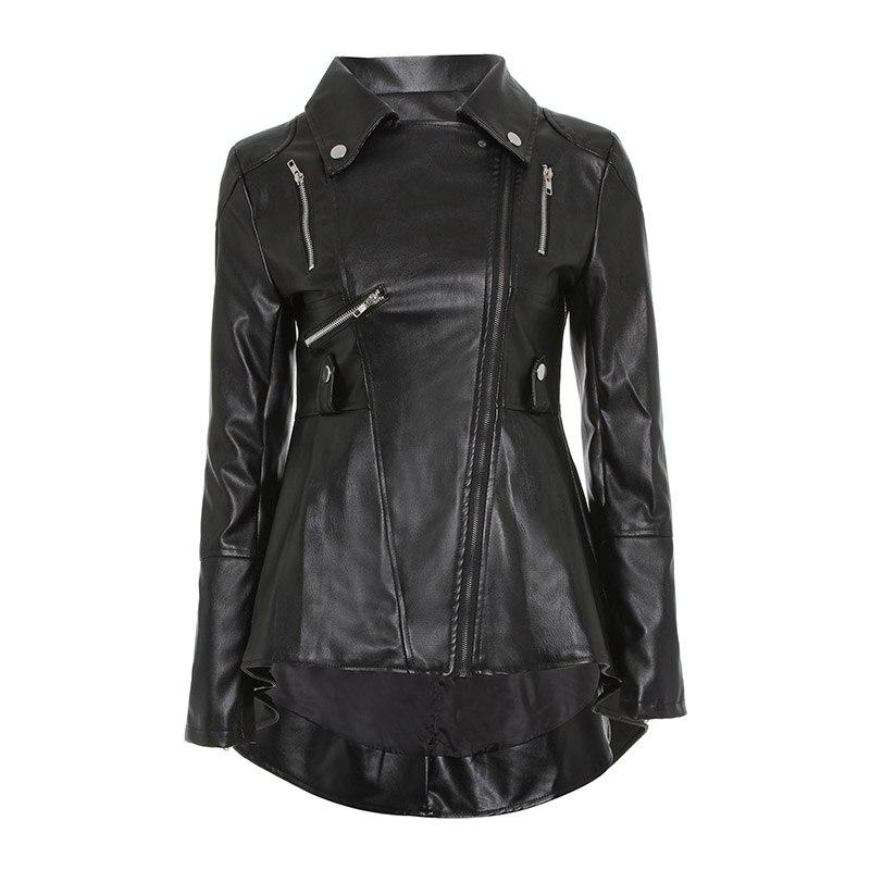 Noir PU Cuir Moto Veste Femmes Automne Top Mode Offre Spéciale Survêtement Fermeture Éclair Fraîche Mince Fitness Femme Goth Manteau Occasionnel
