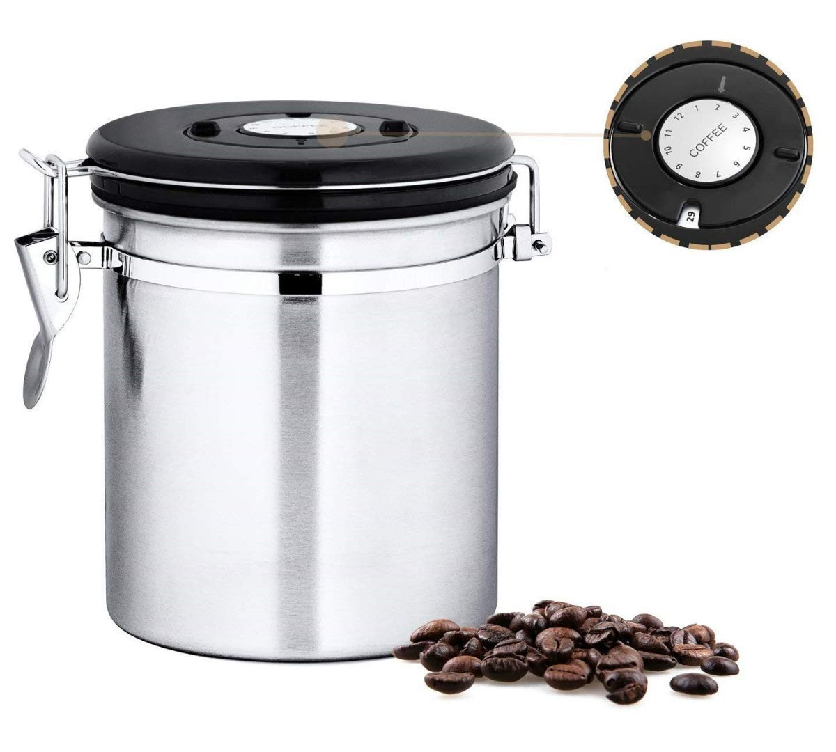 Leeseph Container-Coffee-Beans Canister Co2-Valve Stainless-Steel with Black