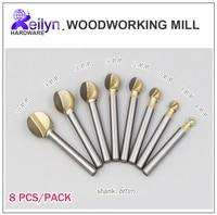 Free Shipping 8 Pcs Ball Cutter Peeling Bit Carving Bit Woodworking Mill Pill Ball Milling Cutter
