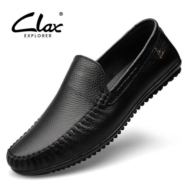 59c6067bc Clax الرجال اللباس أحذية المتسكعون 2018 حذاء جلد طبيعي الأحذية الرسمية  السوداء الانزلاق على أحذية لينة