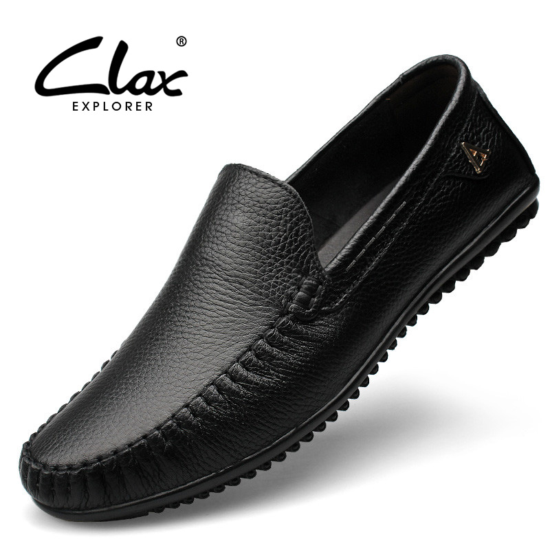 Clax Men Dress Shoes Black Loafers 2018 Formal Shoe Genuine Leather Footwear Slip on Office Shoes Soft Comfortable Luxury Brand