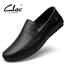 Clax Men Dress Shoes Black Loafers 2017 Formal Shoe Genuine Leather Footwear Slip on Office Soft Comfortable Luxury Brand
