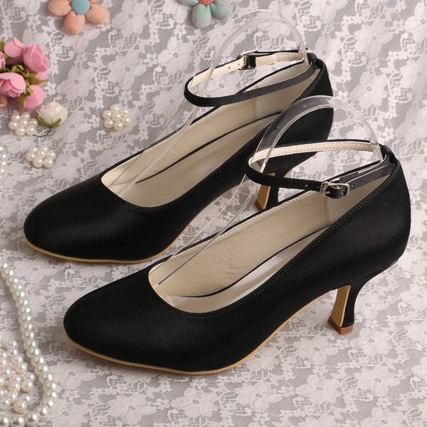 цена на Medium Heel Black Shoes for Women Ankle Strap Pumps Dropshipping