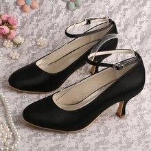 กลางส้นรองเท้าสีดำสำหรับผู้หญิงข้อเท้าสายปั๊มDropshipping
