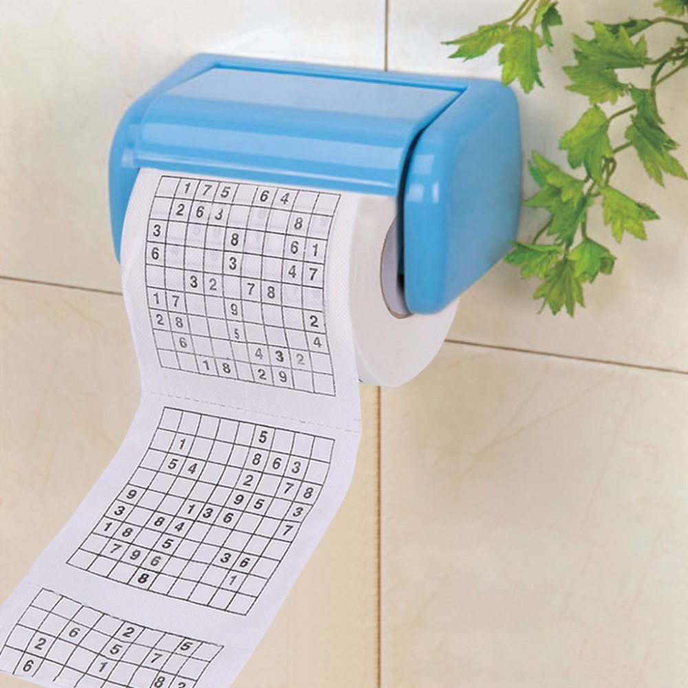 FSHALL 1 PC New 10x9.5cm Durable Sudoku Su Printed Tissue Paper Toilet Roll Paper Good Puzzle Game 2 Layer 240 Section