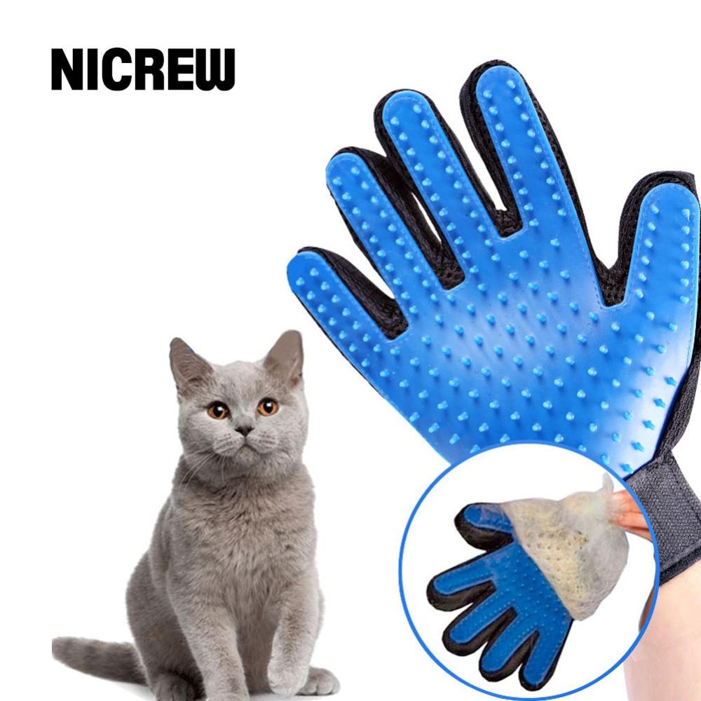Nicrew Deshedding Brush Glove For Animal Cat Supplies font b Pet b font Gloves Hair Comb