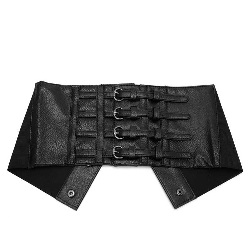 niumanery Retro Lady Waist Shape Corset Wide Elastic Faux Leather Belt Stretch Waistband