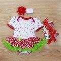 Mamelucos del bebé 3 Unids Ropa Infantil Bebés Fijados Ajuste Rojo Lunares Tutu Vestido Jumpersuit con Banda de Sujeción Zapatos
