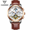 Cadisen Watches Men Business Automatic Mechanical Watch Waterproof Genuine Leather Gold Watch Men Luxury Military Wristwatches