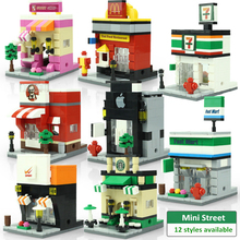 Mini City Street Scene Architecture 3D Model Retail Store Shop Miniature Building Block Toy for child Hsanhe Compatible with lego