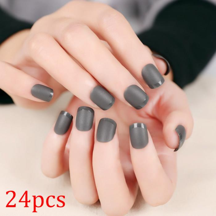Hot Selling 24pcs Grey Fake Nails Acrylic Faux Ongles Decoration for ...