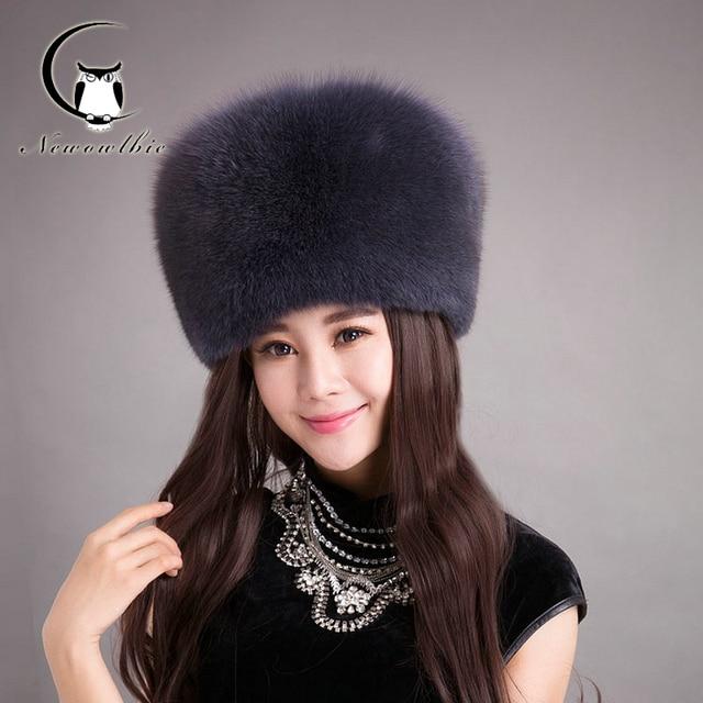 2016 Women Fox Cats Raccoon Silver Fox Fur Hat Cap For Autumn Winter Warm Knitted Women Fox Fur Hat Princess Luruxy Caps
