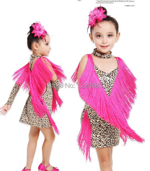 New Arrival Hot Pink Red Leopard Fringe Latin Dance Competition Costumes Girls Leopard Costume Latin Dance Costumes For Kids