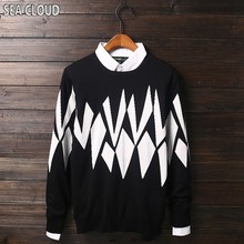 Sea Cloud Plus size men's clothing 2016 fat sweater autumn and winter 8xl long-sleeve 100% cotton o-neck sweater bust 155 cm