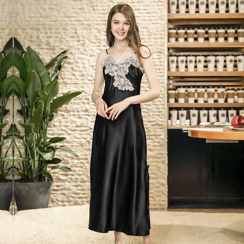 ZOOLIM 2018 Long   Nightgown   Spaghetti Strap Women Autumn Embroidery Lace   Sleepshirt   Silk Satin Nightdress Sleepwear