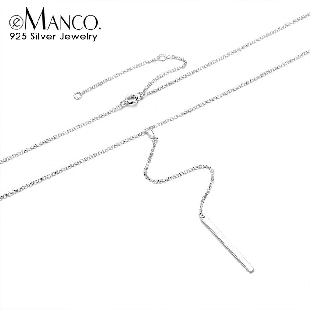 e-Manco 925 Silver Pendant Necklace for Women Long Stick Sterling Silver Choker Necklaces Link Chain Fine Jewelry Girl Gifts
