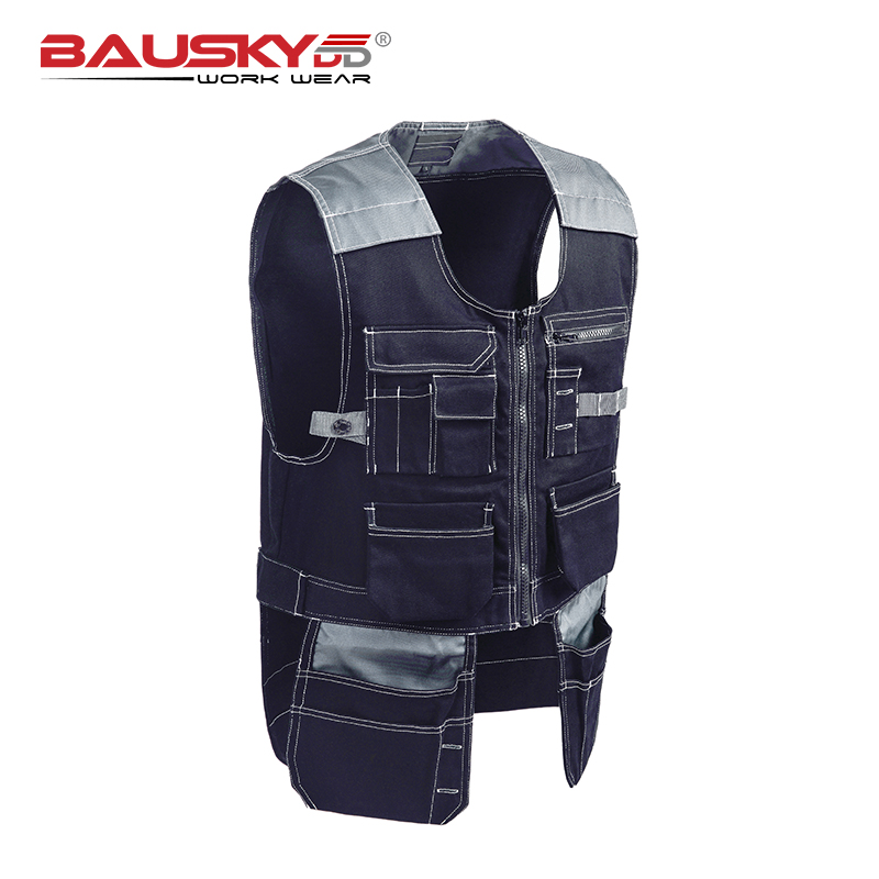 Bauskydd Mens carpener mechanic workwear outdoor vest tool vest Dark blue working vest free shipping цена