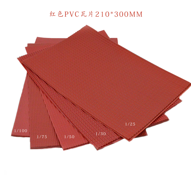 new 210x300mm architecture model matrials PVC tile roofs plastic scale 1/25 100 model pvc red sheet