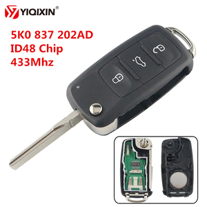 YIQIXIN 5K0 837 202AD 433 ID48 Chip 3 Button Remote Flip Key For VW Volkswagen Beetle Caddy Eos Golf Jetta Polo Scirocco Tiguan