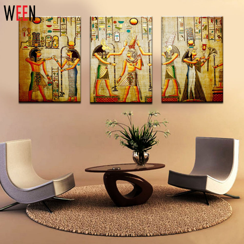 Leinwand Malerei Triple Abstrakte Bild Ägyptisch Wand Wohnzimmer ...