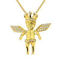 Gold Filled Angel Pendant Necklace 925 Sterling Silver White CZ Micro Paved Hiphop Bling Jewelry Without Cuban Rope Chain