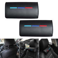 Fits For BMW ///M Car Seat Head Neck Rest Foam Pillow Leather Cushion Pad Black