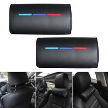 цена на Fits For BMW ///M Car Seat Head Neck Rest Foam Pillow Leather Cushion Pad Black