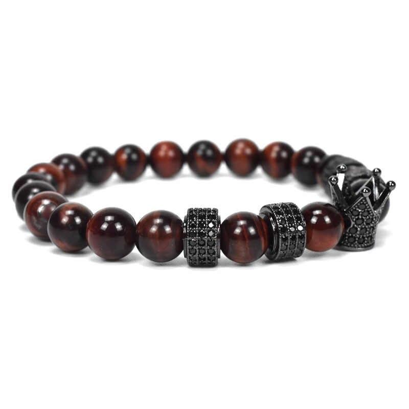 Chín mãi mãi đá tự nhiên màu đỏ hạt bracelet đàn ông trang sức vương miện charms vòng tay cho phụ nữ pulseira masculina femme bileklik