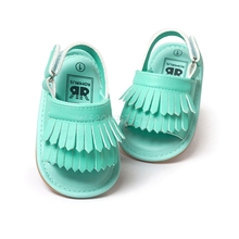 Floral Double Tassel PU Leather Baby Moccasins Child Summer Girl Sandals Infant Sneaker  #T026#