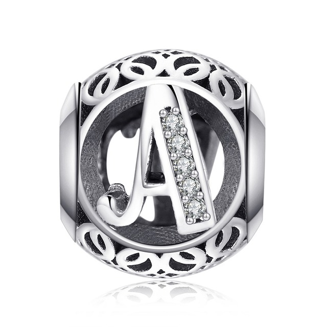 JewelryPalace Initial 925 Sterling Silver Vintage Alphabet Letter Beads Charms Silver 925 Original Fit Bracelets 925 Original