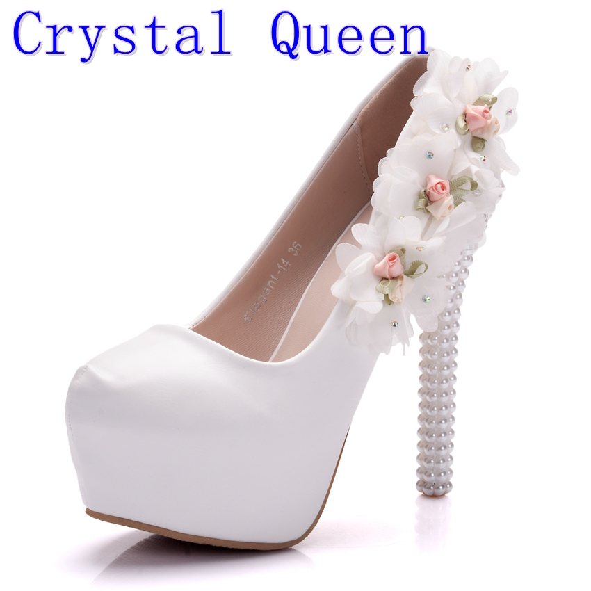 Crystal Queen Princess Heels Women Shoes Pumps Thin High Heels Lace Platform Pumps White Pearls Flowers Wedding Shoes Lady Gifts svarochnaya mask tig mig mma electric welding mask helmet welder cap welding lens for welding machine or plasma cutter
