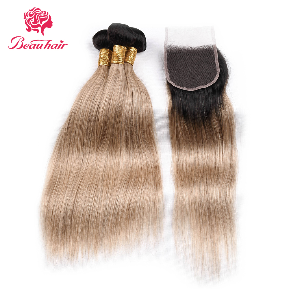 BEAUHAIR Brazilian Human Hair 3 Bundles With Closure 1B/27 Ombre Straight Hair Weave Bundles With Closures Non Remy Hair