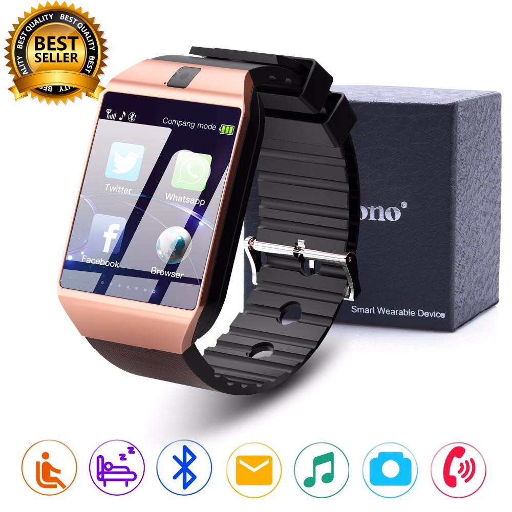 Cawono DZ09 Bluetooth Smart Watch Smartwatch Relogios Դիտեք TF SIM քարտի խցիկ iPhone- ի համար Samsung Huawei Android Phone PK Y1 Q18