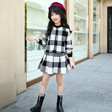 Girls Clothing Sets Spring Autumn Girls Plaid Jacket+Dress Suits Children Clothing Knit Girls Clothes 5 6 7 8 9 10 11 12 Years стоимость
